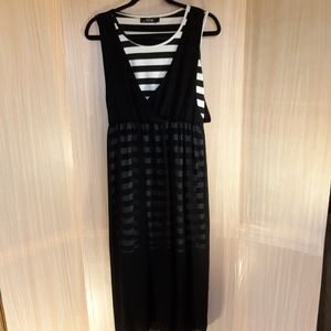 Sky layered dress with sheer maxi.  Size large